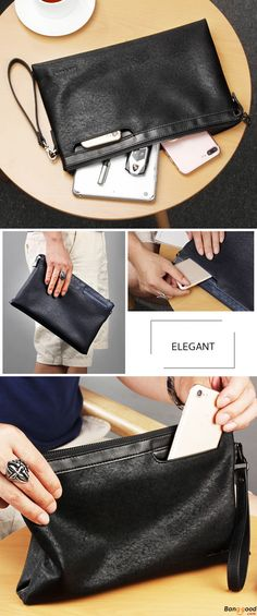 62bdff29281 Men Business Casual Cluthes Handbag Envelope Flap Briefcase Clutch Bags for  Ipad. Color  Black