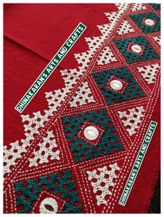 Kutchwork Blouse Piece is intricately handembroidered on the back neck area and hands. *The handwork is very attractive and beautiful. *Length: Photo Back Neck Photo Full Picture of the Blouse Piece Cushion Embroidery, Saree Embroidery Design, Embroidery Neck Designs, Hand Embroidery Videos, Hand Embroidery Flowers, Hand Work Embroidery, Learn Embroidery, Hand Embroidery Stitches, Modern Embroidery