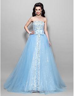Robe de bal en ligne une princesse longueur de sol sans bretelles robe de bal en tulle sequined avec drap by ts couture®