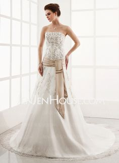 A-Line/Princess Strapless Chapel Train Satin Tulle Wedding Dresses With Embroidery Lace Sashes (002000303) - JenJenHouse
