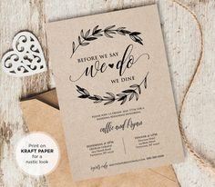 Just Married Elope Announcement Printable DIY Rustic Wedding Wedding Rehearsal Invitations, Vow Renewal Invitations, Rustic Invitations, Party Invitations, Dinner Invitation Template, Wedding Invitation Templates, Printable Invitations, Invitation Ideas, Invitation Design