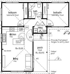 L shaped 50 sqm granny flat plan L Shaped House Plans, Small House Floor Plans, The Plan, How To Plan, Granny Flats Australia, Granny Flat Plans, Granny Pods, Bungalow, 2 Bedroom House Plans