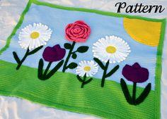 Flowers afghan crochet PDF pattern throw blanket scene spring daisy tulip rose sun green pink purple blue white yellow pretty.