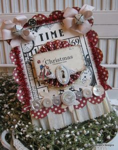 shabby chic children flash card BINGO CARD christmas time stitched altered plaque sign decoration