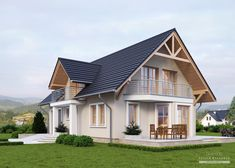 House with attic in traditional style with usable area House with a single garage. Minimum size of a plot needed for building a house is m. Model House Plan, Dream House Plans, My Dream Home, Minimal House Design, Rustic Houses Exterior, My Home Design, Facade House, House Layouts, Cabana