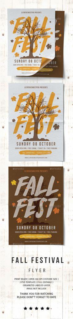 Fall Fest Flyer — Photoshop PSD #invitation #festival • Download ➝ https://graphicriver.net/item/fall-fest-flyer/20508875?ref=pxcr