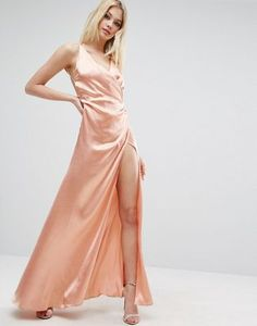 ASOS | ASOS Strap Drape Front Thigh Split Maxi Dress