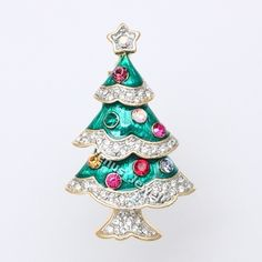 Colorful Ornated Christmas Tree Rhinestone Crystal Brooch Pin B760 | eBay