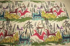 "Fabulous Woodland Horses and Deer ""Fantasia"" Mid Century Vintage Barkcloth -  via Etsy."