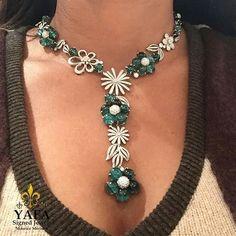 Beautiful emerald and diamond lariat style necklace from #YafaSignedJewels