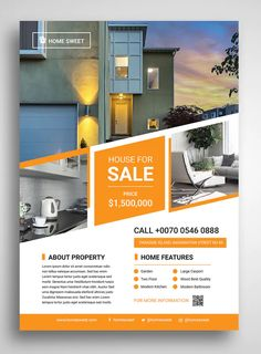 Real Estate Flyer Template, Flyer Design Templates, Presentation Magazine, Promo Flyer, Annual Report Covers, Real Estate Flyers, Brochure Layout, Business Brochure, Layout Design