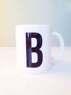 Personalized Monogram Ceramic Mug - 11 oz. Black & White - Bold, Modern, For the Home, Apartment, Kitchen, Gift, Housewarming, Mother's Day by ChristineMarieB, $16.50