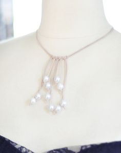 DIY leather/pearl necklace