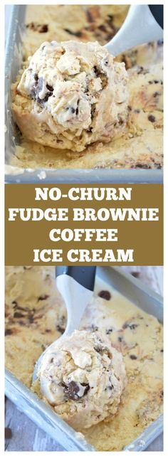 6 ingredients and no machine needed! Fudgy brownie chunks mixed in rich coffee flavored ice cream!