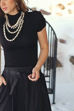 Black and pearls. knit and cotton combo. Soft puff sleeve knit blouse and rigid but feminine belted cotton skirt set nice with chunky pearls. - AN OUTFIT LIKE THIS, WILL NEVER DATE! (Pearls are timeless! Mode Chic, Mode Style, Work Fashion, Fashion Outfits, Womens Fashion, Fashion Clothes, Fashion Beauty, Outfit Chic, Elegantes Outfit