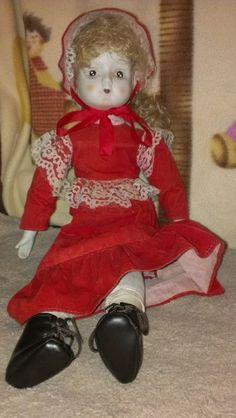 "Walda doll 18"" w/ red velvet dress/ Bonnet/ cloth body"