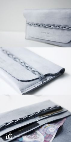 Handmade Leather braided Long Slim Wallets Waxed Leather Purse Women