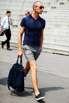#street style#polo tee/striped polo/summer short/Shinzo short/mens fashion