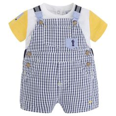 Navy Dungarees Set by Mayoral Sizes: 2-4M, 4-6M, 6-9M, 12M -Made of gingham fabric and jersey fabric with lycra and rib knit. -Color contrast sleeves with an em