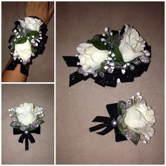 Navy Blue & Black Corsage Boutonniere Set - white silk roses ...