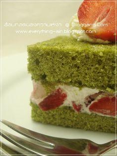 Strawberry Green Tea Chiffon Cake