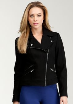 Want this Bebe: Marlie Wool Moto Jacket