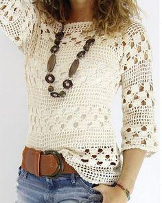 Blusa blanca tejida a crochet blusas Blusa blanca tejida a crochet - Patrones gratis Blouse Au Crochet, Débardeurs Au Crochet, Poncho Crochet, Pull Crochet, Mode Crochet, Crochet Shirt, Crochet Woman, Crochet Tops, Crochet Tunic Pattern