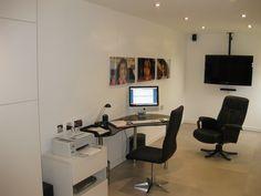 Photograph of Bill Jangra's converted garage into a home office. Converted Garage, Garage Studio, Studio Ideas, Garages, Workplace, Home Office, Corner Desk, Computers, Photograph