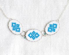 Hand embroidered necklace with three blue Ukrainian by skrynka