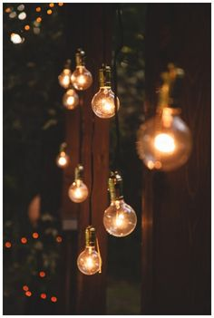 Hanging lights, fairy lights, lanterns and anything else I can think of on trees and the back deck would be a great idea to improve the atmosphere. Belle Photo, Outdoor Lighting, Lighting Ideas, Wedding Lighting, Backyard Lighting, Unique Lighting, Outdoor Fairy Lights, Garden Fairy Lights, Bohemian Lighting