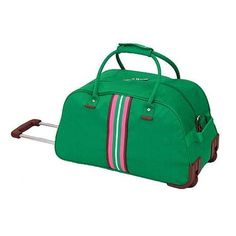 Rollable green tote with pink stripe