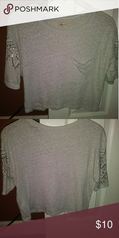 78797212376 Hollister embellished sleeves. This shirt is so cute with the pocket on the  front and
