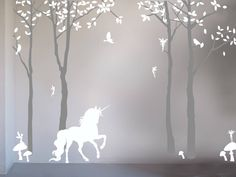 I've just found Magical Unicorn Wall Sticker By Bambizi. Magical Unicorn Wall Stickers created from white and gret matt vinyl to create a feature wall which is perfect for your nursery or child's bedroom. £95.00