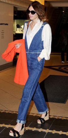 Look of the Day › September 4, 2011 WHAT SHE WORE Chung shopped Sydney in a white button-down, denim overalls and leather platforms.