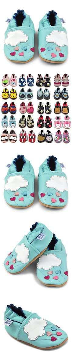 Petit Marin Beautiful Soft Leather Baby Shoes with Suede Soles - Toddler / Infant Shoes - Crib Shoes - Baby First Walking Shoes - Pre-walker Shoes - Clouds - 12-18 Months (20 Designs)