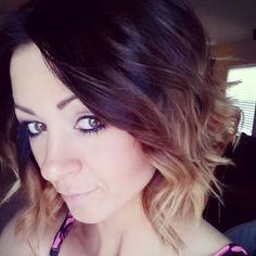dark brown to blonde short ombre hair. I would get purple instead of blond though.