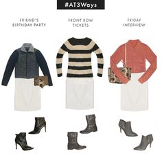 #AT3Ways Faux Leather Pencil Skirt. 3 quick ways to switch-up the look to rock this skirt for any occasion.
