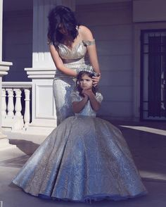 """Mommy crowns me as her little princess>"" Mommy And Me Dresses, Little Girl Dresses, Flower Girl Dresses, Mother Daughter Fashion, Mother Daughter Matching Outfits, Queen Wedding Dress, Style Feminin, Gala Dresses, Evening Dresses"