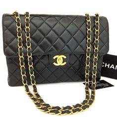 8d84410119b2 CHANEL Jumbo 30 Quilted Matelasse Lambskin w/Chain Shoulder Bag /n240 Denim  Shoulder Bags