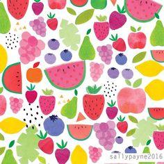 An old print of mine that I've just updated 🍏🍎🍐🍊🍋🍉🍓🍇🍒#desperatelyseekingsummer #fruit #tropical #illustration #collage