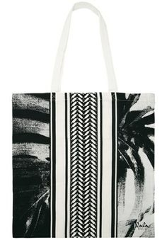 Lala Berlin Cotton Bag Leaves and Stripes