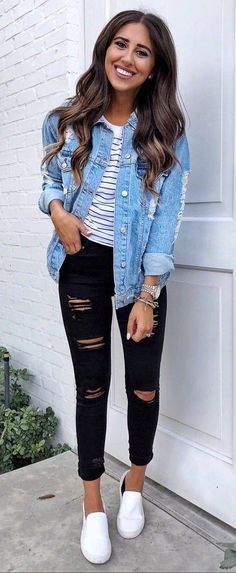 how to wear a denim jacket top black rips sneakers