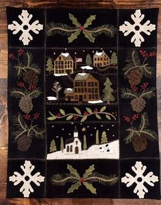 """Auntie Ju's Quilt Shoppe  - Snow Village Wallhanging kit, $120.00 Our kit includes pattern, wool and fabric backing to complete the quilt.  Approx. 23"""" x 29"""" finished.(http://stores.auntiejusquiltshoppe.com/snow-village-wallhanging-kit/)"""