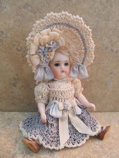 """Victorian Style Crocheted Dress Set for 3 1 2"""" All Bisque Doll by Tina 