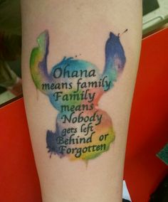 Lilo & Stitch Ohana watercolor tattoo. My very own and first tattoo! #jah #macabrebob
