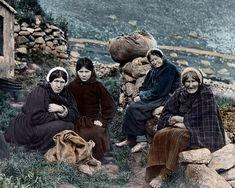 Hard working women of St.Kilda, Scotland mid 1800s (note no shoes)