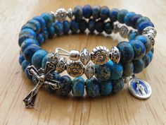 Deep Blue Turquoise Dyed Imperial Jasper by rosarybraceletwrap5