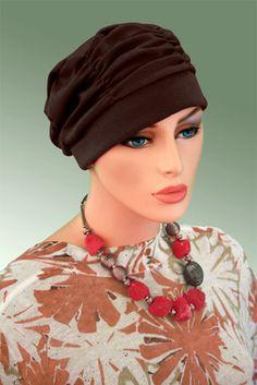 $19.50 - Brown Shirred Cap     #cancer #chemo #alopecia #hair loss