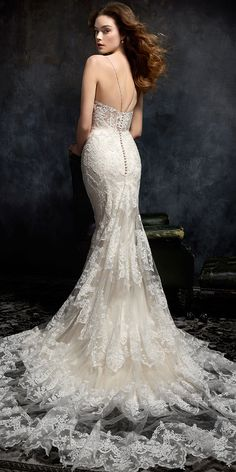 Kenneth Winston Style 1738   corded alencon lace wedding dress with spaghetti straps and illusion low back   luxurious bridal gown   destination wedding   #weddinggown