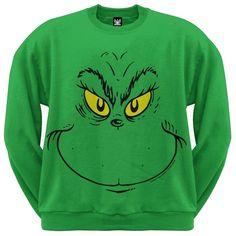 9d3894cc5b5f Dr. Seuss - Grinch Face Crew Sweatshirt Grinch Christmas Sweater